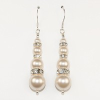 Swarovski Earrings, Ivory Pearls, Bride Wedding Jewellery - by craftimade on madeit
