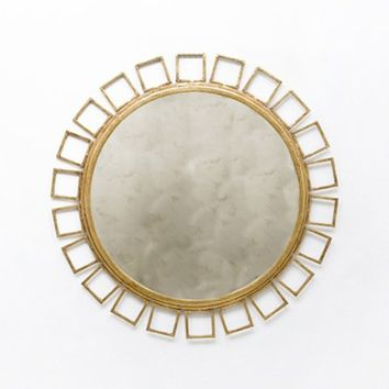 shelby gold leaf round mirror stylish home accesso