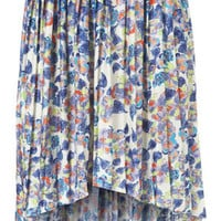 Floral Pleated Dip Hem Skirt - Skirts  - Clothing