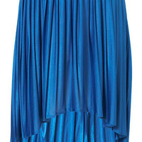 Blue Pleated Dip Hem Skirt - Skirts  - Clothing