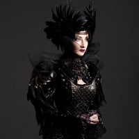 Black Feather, Studded, PVC Leatherette Cape with shoulder pads