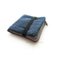 Mens Billfold Wallet in Denim and Grey