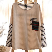 Women's Round Neck Tribal Pocket Striped Sleeves Long Sleeves Top