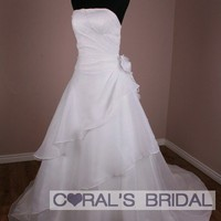 WC14B strapless white wedding dress bridal gown