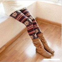 Multi-Colored Women&#x27;s Soft Knitted Stripe Snowflakes Leggings Tights Gift W011