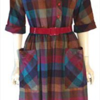 Miss Renfrew Vintage Check Print 70s Dress