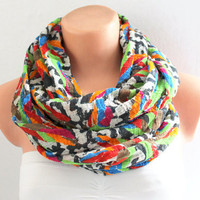 Infinity Scarf - Loop Scarf - Circle Scarf - Brown Scarf - Cotton scaf Cowl Scarf Multicolor
