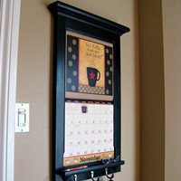 Calendar Frame orgnizer with shelf and key hooks Furniture by Rozemake - Ready to be shipped.