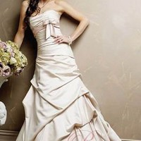 Cheap Dress For Wedding Ball Gown Strapless Taffeta Floor Length Chapel Train wyn-w75