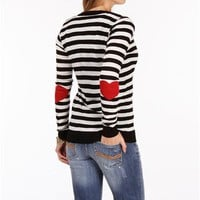 Black/Ivory Stripe Elbow Patch Cardigan