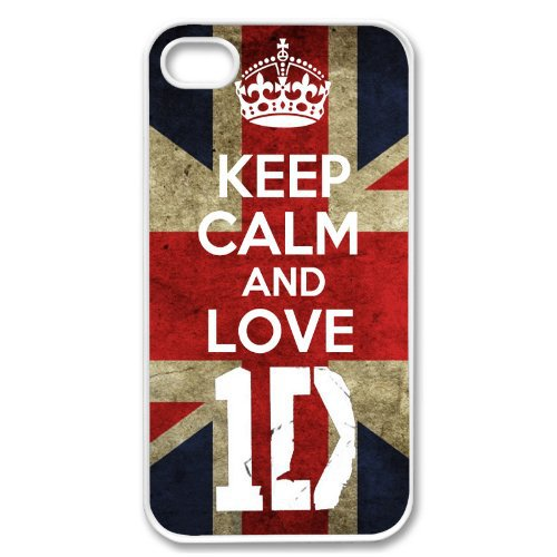 Apple iPhone 4 4G 4S KEEP CALM AND LOVE 1D ONE DIRECTION WHITE Sides Slim HARD Case Skin Cover Prote