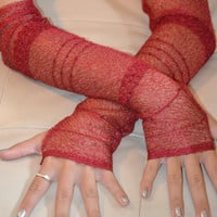 Festive Burgundy Arm Warmers