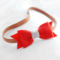 Bow headband -  orange felt bow headband  with lace, kawaii headband