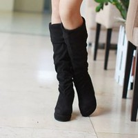 Stylish Black Girls Suede Wedge Super Long Boots : Wholesaleclothing4u.com