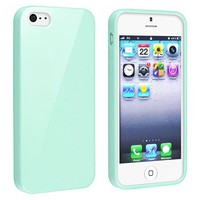 eForCity TPU Rubber Skin Case Compatible with Apple iPhone 5, Mint Green Jelly