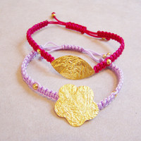 Braided bracelet with gold flower or leaf , choices in red berry pink or lilac