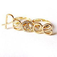Elegant Pacifism Rhinestone Double Finger Cocktail Ring at Cheap Fashion Jewelry Store Gofavor