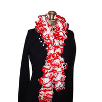 Ruffle Scarf Red & White Handmade Knitted School Colors Nebraska Huskers