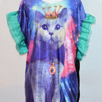 Galaxy Cat Shirt w/ Green Sleeves