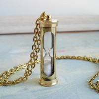 One piece - real working steam punk style Solid Brass  Hour glass Sand Timer  long necklace