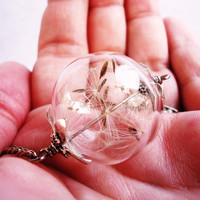 Elegant Dandelion Seed Glass Orb Necklace In Silver, Lucky You