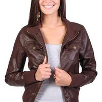 faux leather jacket features two flap chest pockets - debshops.com