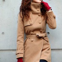 Magazine Fashion Lapel Warm Winter Coats Khaki : Wholesaleclothing4u.com