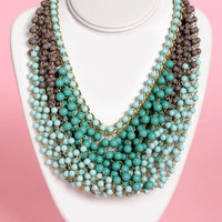 Last Century Teal Beaded Necklace