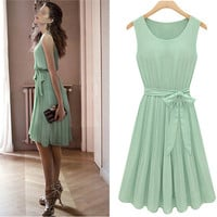 New Womens Fashion Pleated Chiffon Bow belt Mint Green Sleeveless Dress