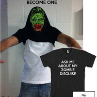 Ask Me About my Zombie Disguise t shirt funny zombie face shirt Halloween tee
