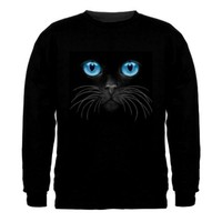 Blue Cat Eyes Sweatshirt (Medium, Black)