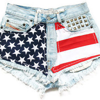 High Waster American Flag Shorts