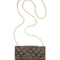 BCBGMAXAZRIA Handbag, Sofia Snake Print Quilted Mesh Shoulder Bag - All Handbags - Handbags & Accessories - Macy's