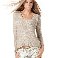 American Rag Juniors Sweater, Three-Quarter-Sleeve Marled-Knit Scoop-Neck - Juniors Sweaters - Macy's