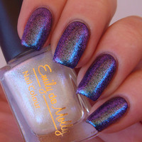 "Nail polish - ""Power Struggle""  blue / purple / red topcoat"