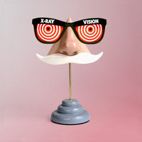 Nose Eyeglass Stand, White Moustache Key Hooks, Men's Geeky Accessory