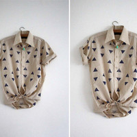 Blouse // blue / beige // random triangles