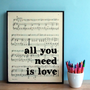 "Beatles Lyrics Typographic Art Print on Framed Sheet Music ""all you need is love"""