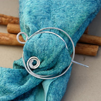 Scarf Pin. Sterling Silver. Hair Pin. Large Silver Cirlce Swirl. Shawl Pin. Gift for her. Handmade.  Ooak