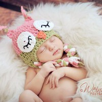 Crochet Sleepy Owl Hat Newborn To T.. on Luulla