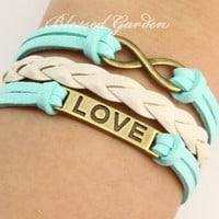 bracelet,mint green bracelet, mint green leather,infinity bracelet, love bracelet, infinity love, antique bronze,friendship  christmas gift