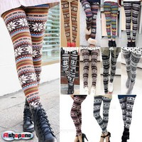 New Women&#x27;s Nordic Deer Snowflake Knitted Leggings Tights Pants
