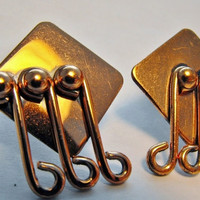 Renoir Geometric Copper Earrings by GiltyGirlVintage on Etsy