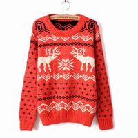 X'mas Deer Round Neck Sweater RED, Free Shipping