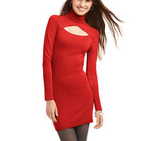 Planet Gold Juniors Dress, Long Sleeve Turtleneck Cut Out Sweater - Juniors Dresses - Macy's