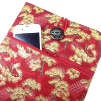 iPad Sleeve, iPad 4 cover, iPad 3 cases With Zippered Pocket Kimono Cotton Fabric Pine Trees Red