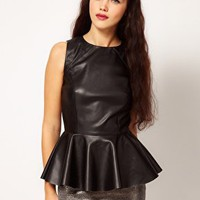 River Island Leather Look Peplum Vest at asos.com