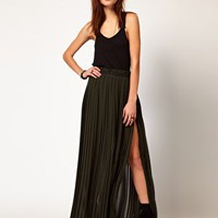 Diesel Pleated Maxi Skirt With Thigh Split at asos.com