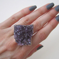 Amethyst Cluster Ring. Amethyst Druzy Ring. Raw Amethyst Ring. Drusy Ring. By Victory Jewelry.