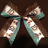 1 One Direction Turquoise Black Cheer/Cheerleading/Dance Bow Ribbon